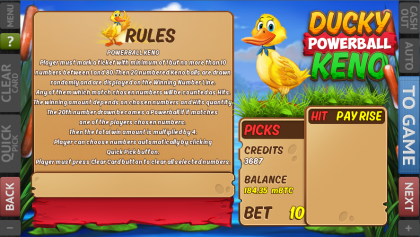 Ducky Powerball Keno Game